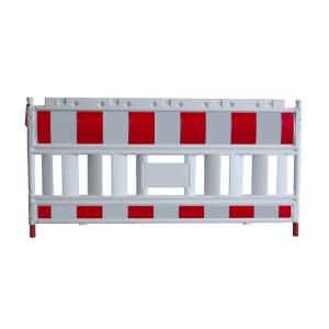 Schrankenzaun -Elektro-, Länge 2140 mm, gemäß TL, rot / weiß, nicht leitend (Modell/Gewicht:  <b>ohne Lampenadapter</b> / 12,5 kg (Art.Nr.: 33420ke))