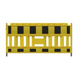 Schrankenzaun -Euro2-, Länge 2100 mm, wahlweise mit schwarz-gelber oder rot-weißer Folie (Farbe/Lampenadapter/Gewicht:  <b>gelb mit schwarz-gelber Folie</b><br>ohne Lampenadapter / 14,5 kg (Art.Nr.: 33420k-i))