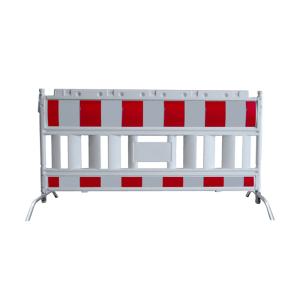 Schrankenzaun -Euro2-, Länge 2150 mm, rot / weiß, mit schwenkbaren Stahlfüßen (Ausführung: Schrankenzaun -Euro2-, Länge 2150 mm, rot/weiß, mit schwenkbaren Stahlfüßen (Art.Nr.: 33420kf))