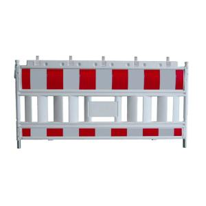 Schrankenzaun -Euro2 NOX-, Länge 2150 mm, gemäß TL, weiß / rot, wahlweise mit Folie RA1 oder RA2 (Folie/Gewicht/Modell: Folie Typ 1 (RA1) / 14,5 kg<br> <b>ohne Lampenadapter</b> (Art.Nr.: 33420k))