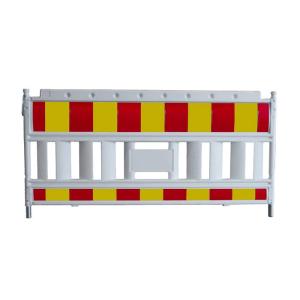Schrankenzaun -Euro2 NOX-, Länge 2150 mm, weiß / rot / gelb, wahlweise mit Folie RA1, RA2 oder RA3 (Folie/Gewicht/Modell: Folie Typ 1 (RA1) / 14,5 kg<br> <b>ohne Lampenadapter</b> (Art.Nr.: 33420ksk))