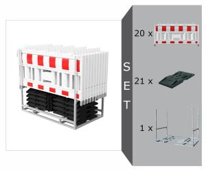 Schrankenzaun Komplett-Set -Cordon III-, mit 20 Schrankenzäunen, 21 Fußplatten, 1 Multipalette (Modell: mit Lampenadaptern (Art.Nr.: 33420ka-set3))