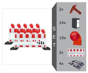 Schrankenzaun Komplett-Set -Vario II- für Vollsperrung, inkl. Warnleuchten, Fußplatten, Batterien (Ausführung: Schrankenzaun Komplett-Set -Vario II- für Vollsperrung, inkl. Warnleuchten, Fußplatten, Batterien (Art.Nr.: 20497))