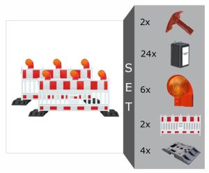 Schrankenzaun Komplett-Set -Vario I- für Teilsperrung, inkl. Warnleuchten, Fußplatten, Batterien (Ausführung: Schrankenzaun Komplett-Set -Vario I- für Teilsperrung, inkl. Warnleuchten, Fußplatten, Batterien (Art.Nr.: 20453))