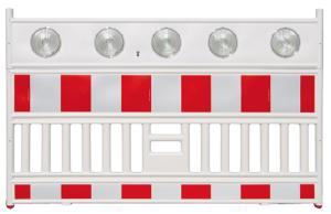 Schrankenzaun -Vario LED-, Länge 2130 mm, mit 5 integrierten LED-Warnleuchten (Ausführung: Schrankenzaun -Vario LED-, Länge 2130 mm, mit 5 integrierten LED-Warnleuchten (Art.Nr.: 25925))