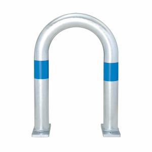 Schutzbügel -City- Ø 60 mm, aus Stahl, zum Schutz von Ladesäulen, versch. Ausführungen (Reflexringe/Maße (ØxHxB):  <b>2 Reflexringe blau</b><br>60 x 800 x 360 mm (Art.Nr.: 40517))