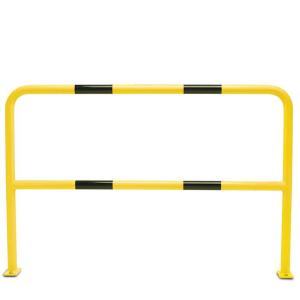 Schutzbügel -Solid- Ø 48 mm, mit Querholm, Überflur 1000 mm (Breite/Befestigung/Material: 1000mm/zum Aufdübeln mit Bodenplatte<br>kunststoffbeschichtet (Art.Nr.: 31154))