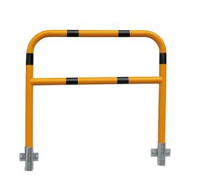 Schutzbügel -Sylt- Ø 48 mm aus Stahl, Höhe 1000 mm, zur Wandmontage, mit Querholm, ohne Farbe oder gelb / schwarz