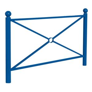 Schutzgeländer -Bowl- aus Stahl, zum Einbetonieren, wahlweise mit Großkreuz oder Gittermaschen