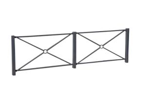 Schutzgeländer aus Stahl, Höhe 1000 mm, zum Einbetonieren, wahlweise mit Flach- oder Zierkopf (Element: Mittelpfosten/4 Verbindungslaschen (Art.Nr.: 418.7804b))