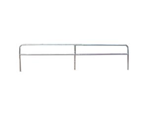 Schutzgeländer aus Stahlrohr Ø 48 mm, zum Einbetonieren, wahlweise ohne Farbe oder weiß / rot