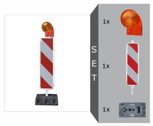 Sicherheitsbake mit D-System Komplett-Set, BASt-geprüft nach TL-Leitbaken, wahlweise Folie RA1 oder RA2 (Typ 1 / Typ 2) (Modell: Set mit Folie RA1 (Typ 1) (Art.Nr.: 33623))