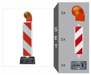 Sicherheitsbake mit KD-System Komplett-Set, BASt-geprüft nach TL-Leitbaken, Folie RA1 oder RA2 (Modell: Set mit Folie RA1 (Typ 1) (Art.Nr.: 33621))