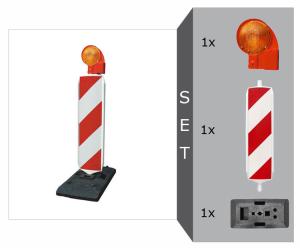 Sicherheitsbake mit SD-System Komplett-Set, BASt-geprüft nach TL-Leitbaken, wahlweise Folie RA1 oder RA2 (Typ 1 / Typ 2) (Modell: Set mit Folie RA1 (Typ 1) (Art.Nr.: 12541))