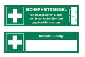 Sicherheitssiegel für Verbandkoffer auf Bogen, 5 Stück (Text: SICHERHEITSSIEGEL, Bei beschädigtem Siegel den Inhalt überprüfen und gegebenenfalls ersetzen. (Art.Nr.: 30.c9035))