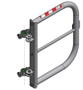 Sicherheitstür -Safe Guardian Universal- für Steigleitern, aus Edelstahl, Breite 500 - 1000 mm (Befestigung/Breite:  <b>zur Rohrbefestigung</b><br>rechtsseitig selbstschließend<br>525 - 1000 mm (Breite angeben)<br>inkl. Befestigungsschellen