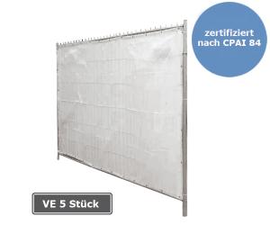 Sichtschutzplane für Mobilzäune mit Aluminiumösen, zertifiziert nach CPAI 84, VE 5 Stück, 1,75 x 3,40m (Ausführung: Sichtschutzplane für Mobilzäune mit Aluminiumösen, zertifiziert nach CPAI 84, VE 5 Stück, 1,75