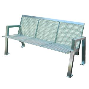 Sitzbank -Angle- mit Rückenlehne, aus Edelstahl, Sitz- und Rückenfläche aus Drahtgitter, mobil (Modell/Breite:  <b>3-Sitzer</b>/1595mm (Art.Nr.: 20852))