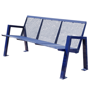 Sitzbank -Angle- mit Rückenlehne, aus Stahl, Sitz- und Rückenfläche aus Drahtgitter, mobil