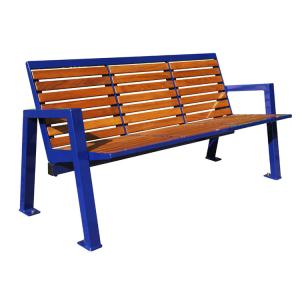 Sitzbank -Angle- mit Rückenlehne, aus Stahl, Sitz- und Rückenfläche aus Robinien-Holz, mobil