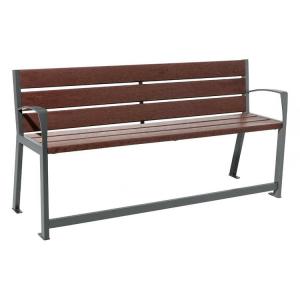 Sitzbank -Circle- aus Stahl, Sitz- und Rückenfläche aus Recycling-Kunststoff, speziell für Senioren (Gestell Farbe: RAL 7044 grau (Art.Nr.: 41143))