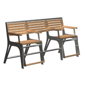 Sitzbank -Comfort- mit Gasdruckfeder, speziell für Senioren, aus Stahl und Robinien-Holz
