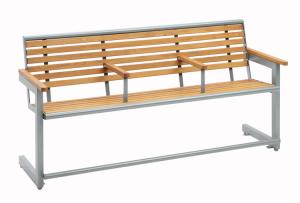 Sitzbank -Cosmo Plus- aus Stahl beschichtet, mit Hartholz, inkl. Armlehen und Fußstützen, mobil (Ausführung: Sitzbank -Cosmo Plus- aus Stahl beschichtet, mit Hartholz, inkl. Armlehen und Fußstützen, mobil (Art.Nr.: 34642))