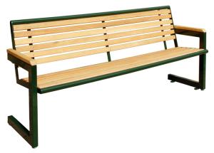 Sitzbank -Cosmo- mit Rückenlehne, aus Stahl, Sitz- und Rückenfläche aus Robinien-Holz, mobil (Farbe Gestell: RAL9006 weissaluminium (Art.Nr.: 20843))
