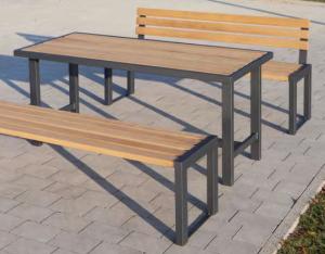 Sitzbank -Delion- aus Stahl, Sitzfläche 1500 mm aus Hartholz, wahlweise mit oder ohne Rückenlehne