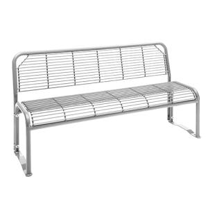 Sitzbank -Dita- mit Rückenlehne, aus Stahl, Sitz- und Rückenfläche aus Gitternetz