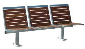 Sitzbank -Elegant- mit Rückenlehne, aus Flachstahl, Sitz- und Rückenfläche in PAG-Holz