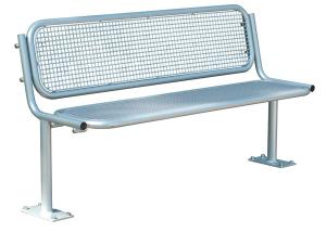 Sitzbank -Ercole- mit Rückenlehne, Stahl, Sitz- und Rückenfläche aus Drahtgitter, zum Aufdübeln
