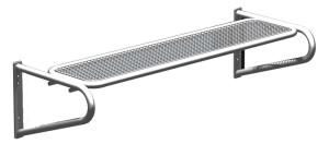 Sitzbank -Ercole- ohne Rückenlehne, aus Stahl, für Wetterschutzeinrichtungen, Sitzfläche aus Drahgitter, zum Anschrauben (Farbe: RAL5000 violettblau (Art.Nr.: 20909))
