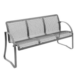 Sitzbank -Falo- mit Rückenlehne, aus Flachstahl, Sitz- und Rückenfläche aus Drahtgitter, mobil