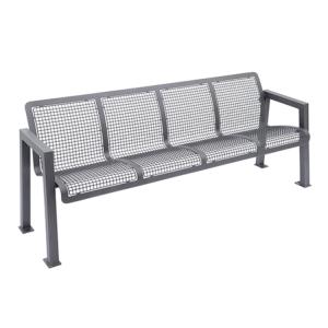 Sitzbank -Forum- mit Rückenlehne, aus Stahl, Sitz- und Rückenfläche aus Drahtgitter, mobil