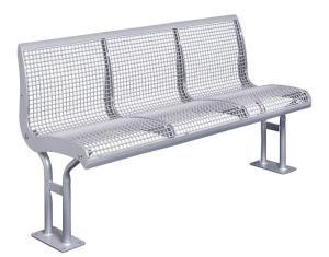 Sitzbank -Freelax- mit Rückenlehne, aus Flachstahl, Sitz- und Rückenfläche aus Drahtgitter