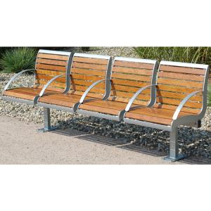 Sitzbank -Freelax- mit Rückenlehne, aus Stahl, Sitz- und Rückenfläche aus Robinien-Holz