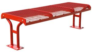 Sitzbank -Freelax- ohne Rückenlehne, aus Flachstahl, Sitzfläche aus Drahtgitter, wahlweise zum Einbetonieren oder zum Aufdübeln