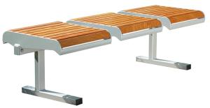 Sitzbank -Freelax- ohne Rückenlehne, aus Stahl, Sitzfläche aus PAG-Holz, wahlweise zum Aufdübeln, Einbetonieren oder mobil