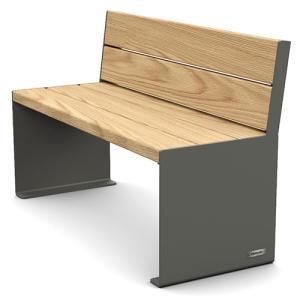 Sitzbank -Kube- mit Rückenlehne, Stahl, Sitz- und Rückenflächen Holz, verschiedene Längen