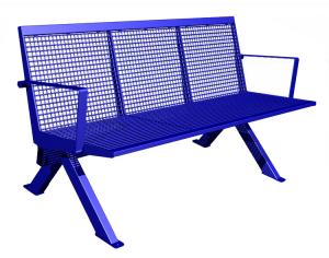 Sitzbank -Level- mit Rückenlehne, aus Stahl, Sitz- und Rückenfläche aus Drahtgitter, mobil