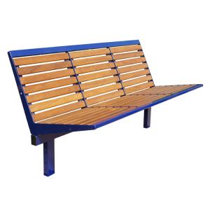 Sitzbank -Level- mit Rückenlehne, aus Stahl, Sitz- und Rückenfläche aus Robinien-Holz