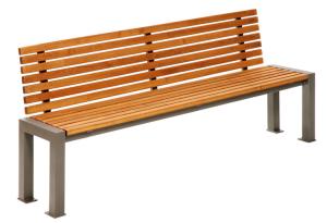Sitzbank -Lumino- mit Rückenlehne, aus Stahl, Sitz- und Rückenfläche aus Robinien-Holz, mobil (Farbe Gestell: RAL3005 weinrot (Art.Nr.: 23122))