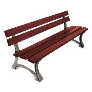 Sitzbank -Moro- mit Rückenlehne, aus Stahl, Sitz- und Rückenfläche aus Holz, zum Aufdübeln (Lasurfarbe: Mahagoni (Art.Nr.: 31237))