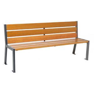 Sitzbank -Nature- aus Stahl, Sitz- und Rückenfl. aus Eichenholz, Lasur Eiche hell oder Mahagoni