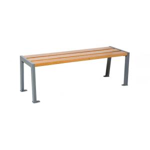 Sitzbank -Nature- ohne Rückenlehne, Stahl, Sitzfläche Eiche, Lasur helle Eiche oder Mahagoni