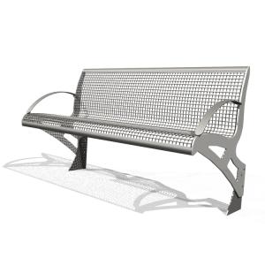 Sitzbank -Transform-, Sitz- und Rückenfläche aus Drahtgitter, PAG-Holz oder Robinien-Holz