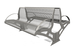 Sitzbank -Transform- aus Stahl, zum Einbetonieren, aus Drahtgitter, PAG- oder Robinien-Holz