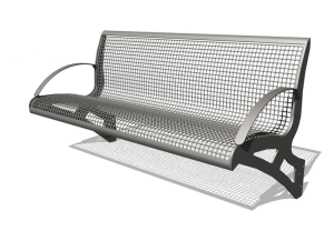 Sitzbank -Transform- mit Rückenlehne, aus Stahl, für Wetterschutzeinrichtungen, zum Anschrauben