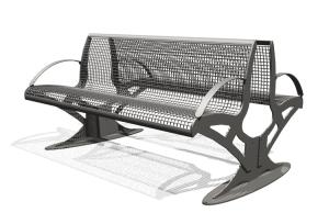 Sitzbank -Transform-, zweiseitig, Sitz- und Rückenfläche aus Drahtgitter, PAG- oder Robinien-Holz
